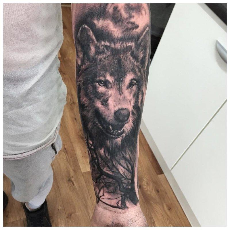 Open mond van een wolf - tatoeage op de hand van een man