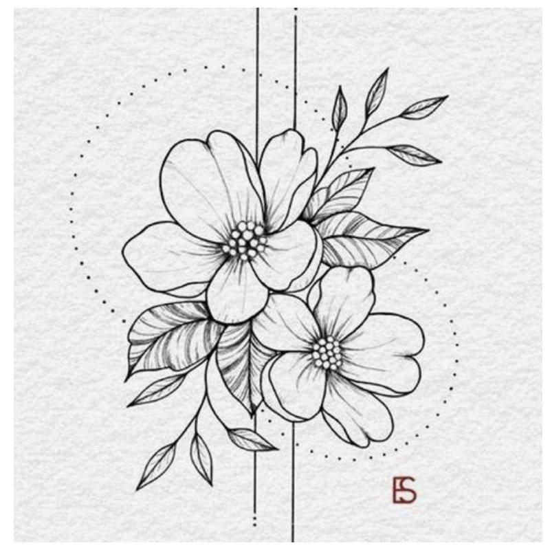 Gražus gėlių eskizas tatuiruotėms