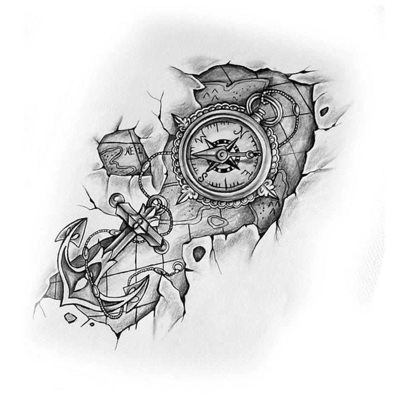 Eskizas su kompasu ir inkaru