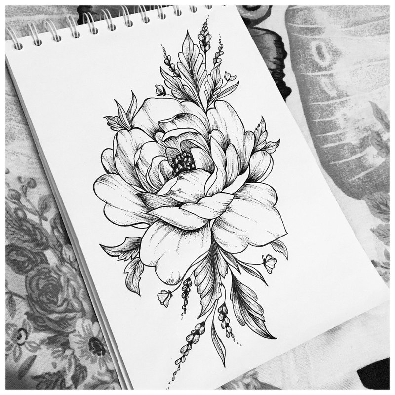 Graži gėlė - tatuiruotės eskizas