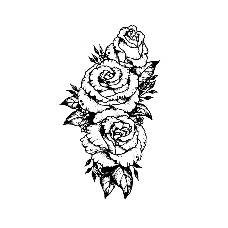 Gėlių tatuiruotės eskizas.