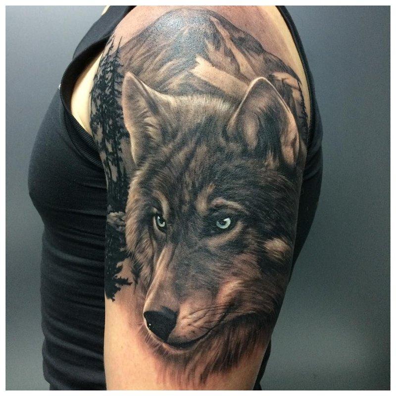 Wolfs oog - tatoeage op de schouder van een man