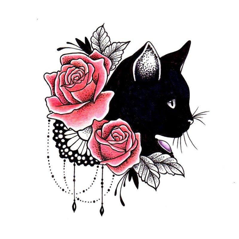 Spalvotas eskizas katė su rožėmis