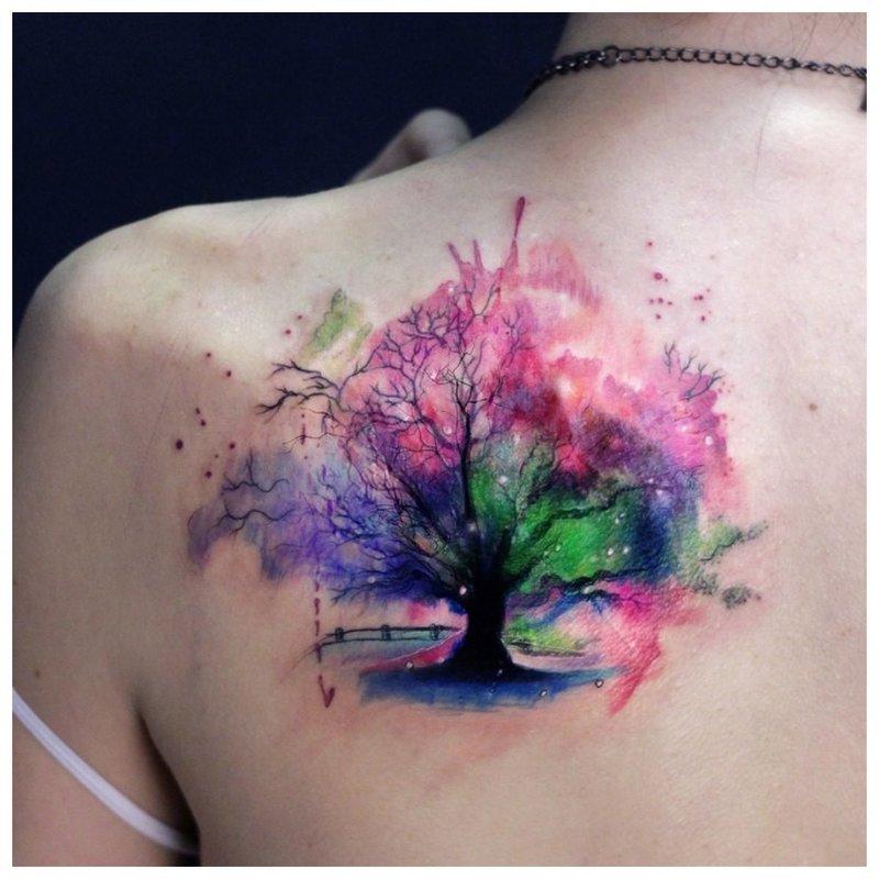 Aquarel boom tattoo