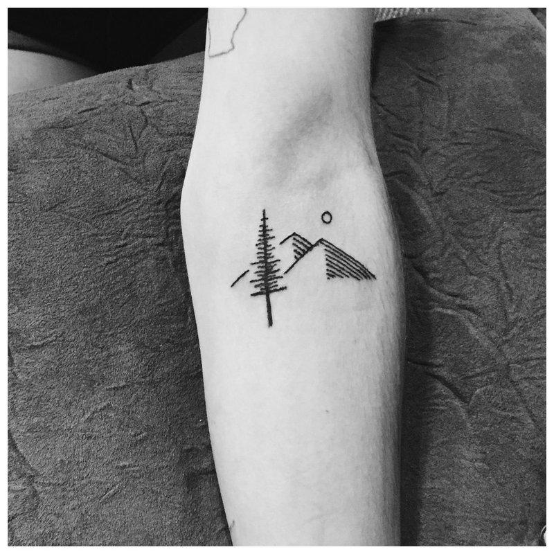 Kraštovaizdžio tema dilbio tatuiruotėms
