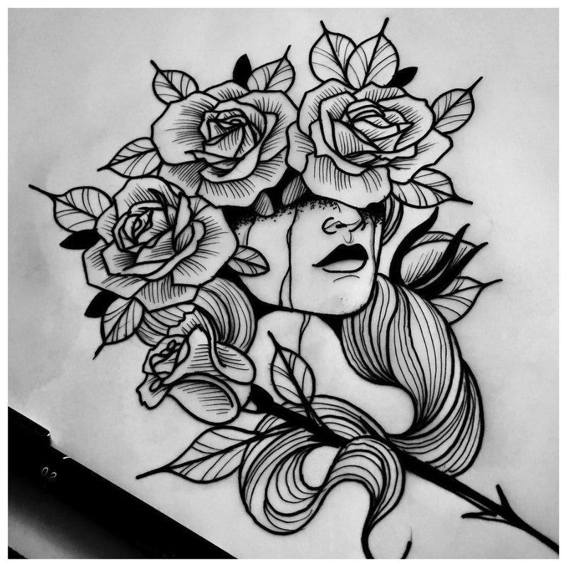 Mistinė mergina - tatuiruotės eskizas