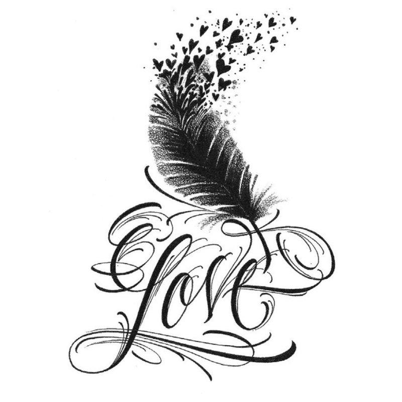 Meilės tatuiruotės eskizas su plunksna