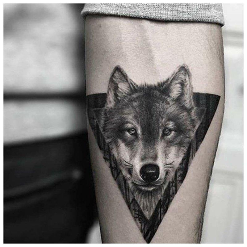 Wolfs oog - tatoeage op de hand van een man