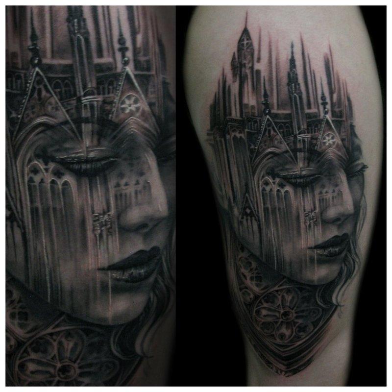 Tatouage gothique avec portrait