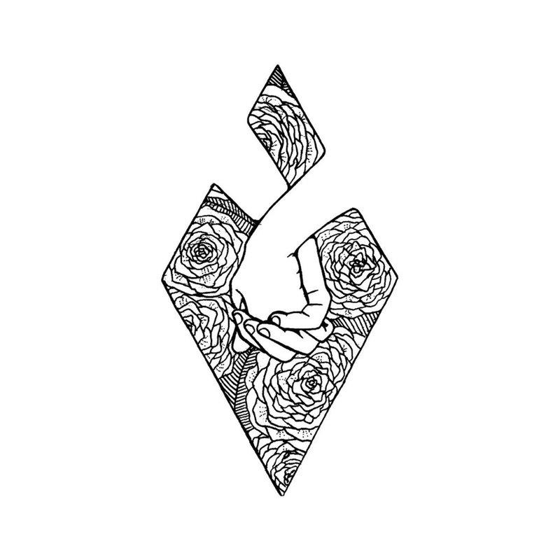 Meilės temos tatuiruotės eskizas