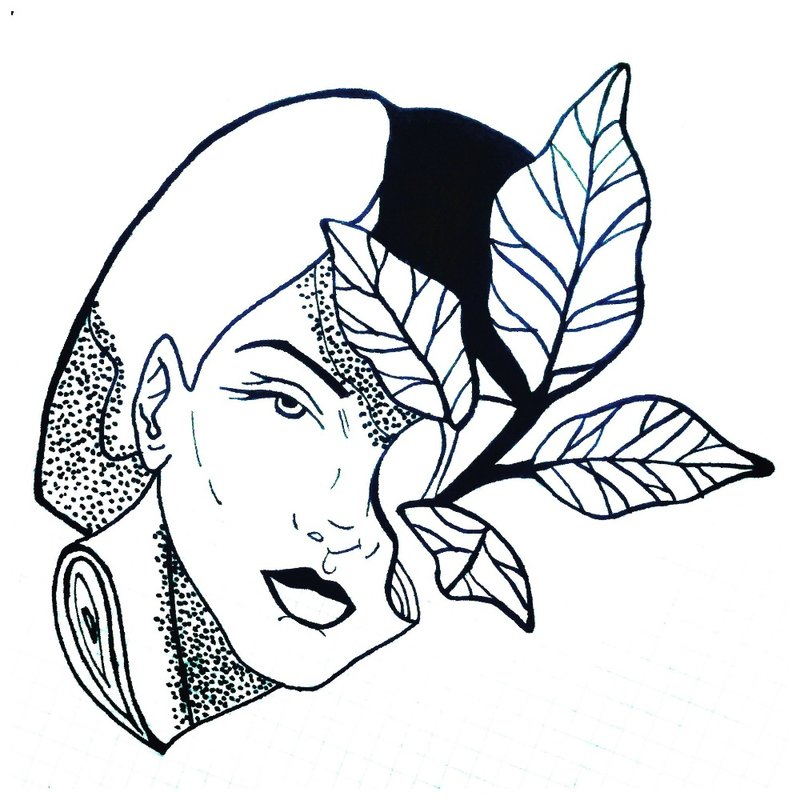Moters veido tatuiruotės eskizas