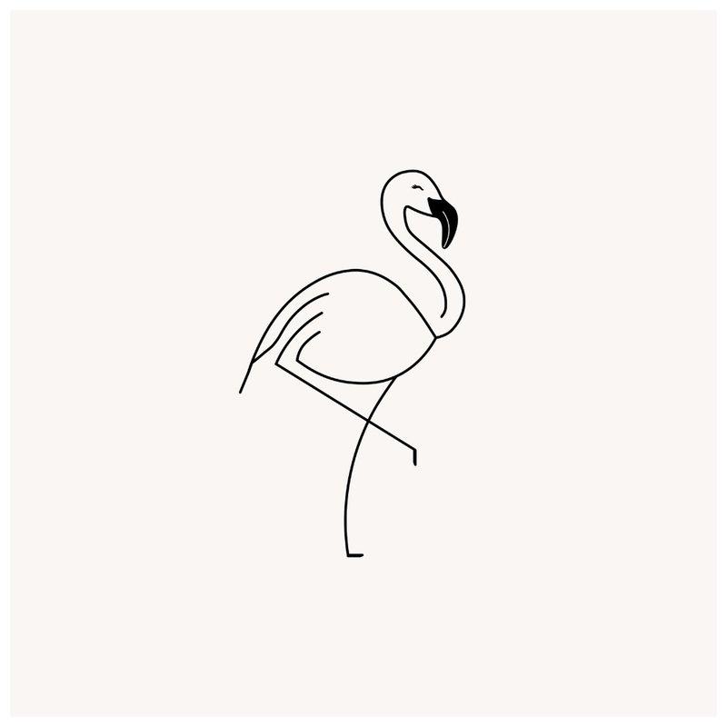 Flamingo kontūrinės tatuiruotės eskizas