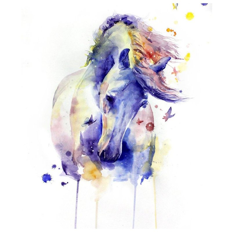 Akvarelės arklio eskizas