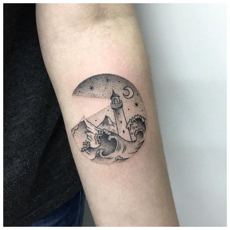 Kraštovaizdžio tatuiruotė ant vyro rankos