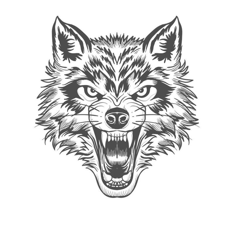 Boze wolf - schets voor tattoo