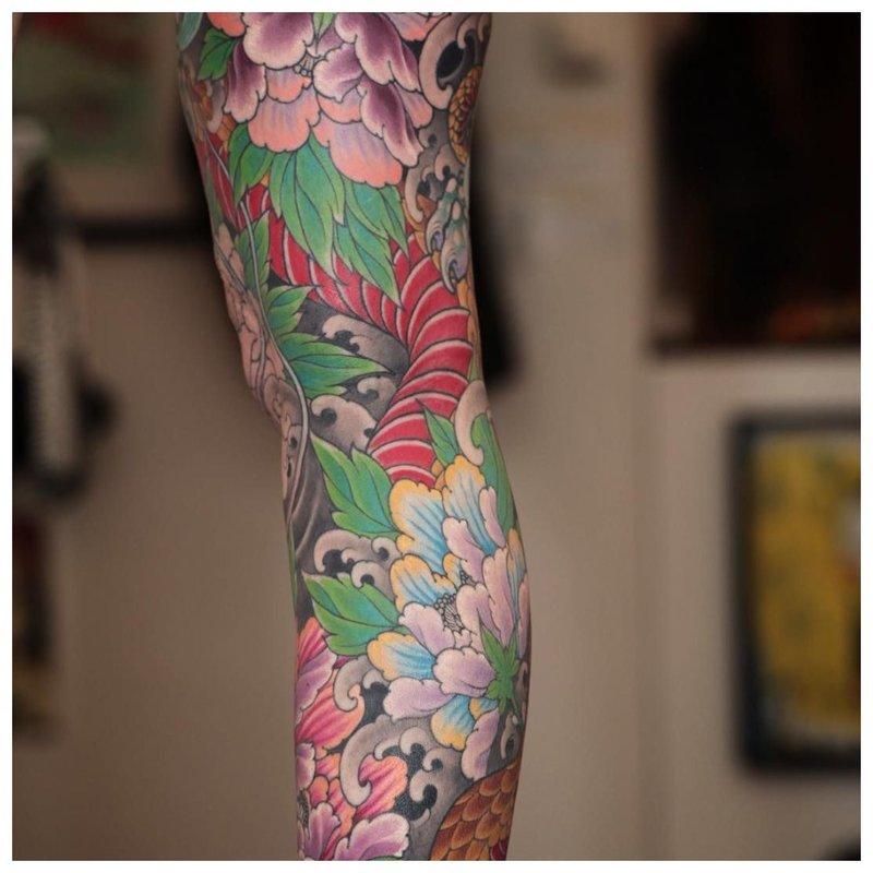 Oosterse volledige arm tattoo