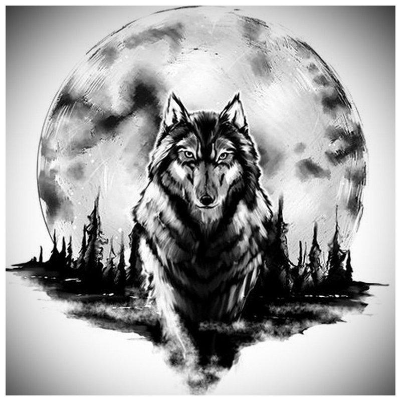 Mooie wolf stappen - schets voor tattoo