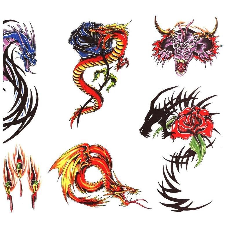 Mažų spalvotų drakonų tatuiruočių eskizai