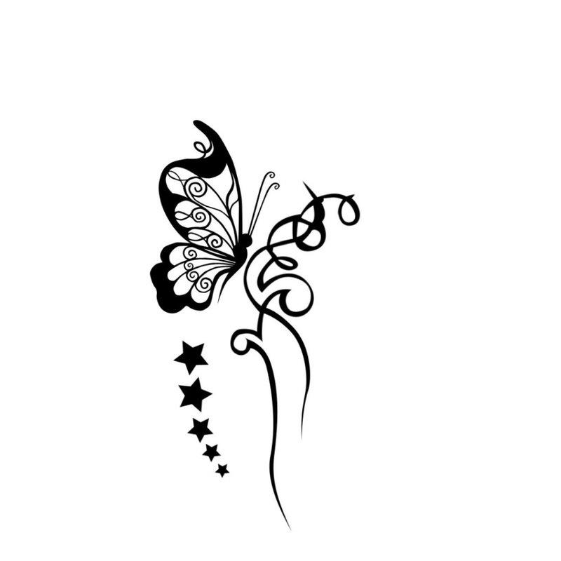 Drugelio siluetas - tatuiruotės eskizas