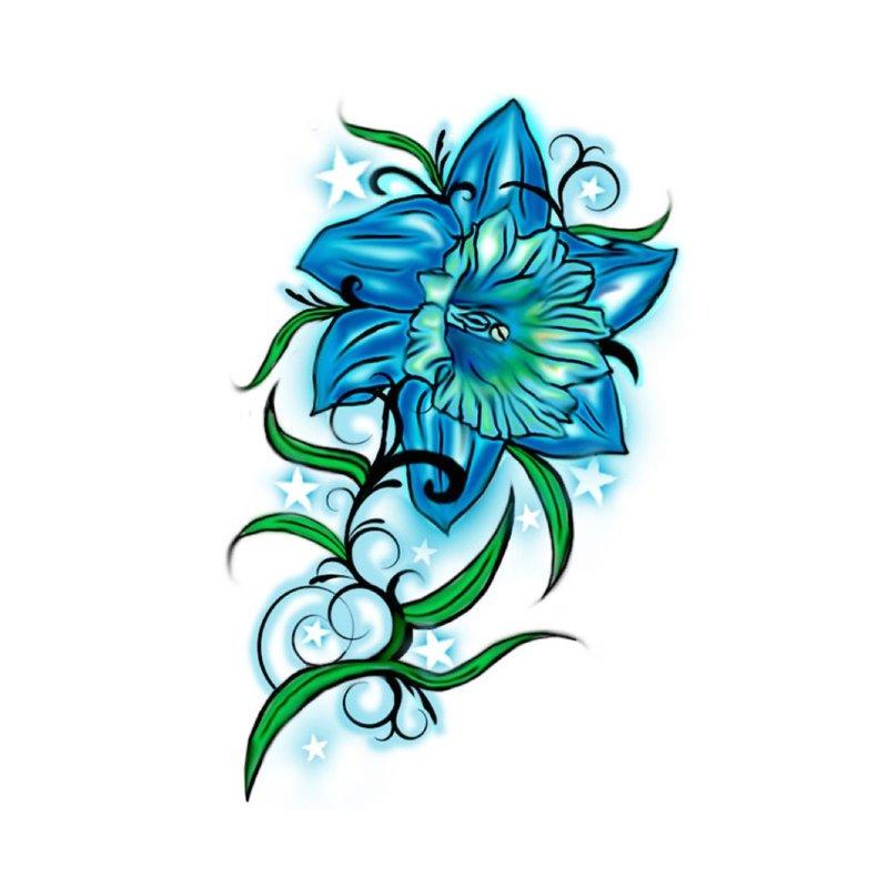 Spalvos eskizas mėlyna lelija