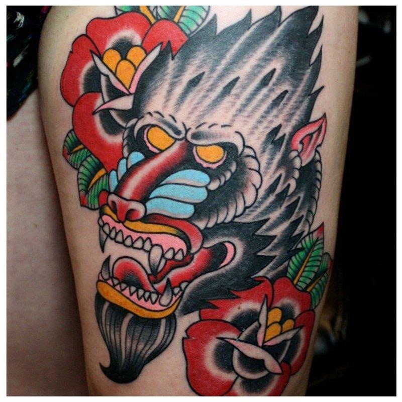 Old School Monkey Tattoo