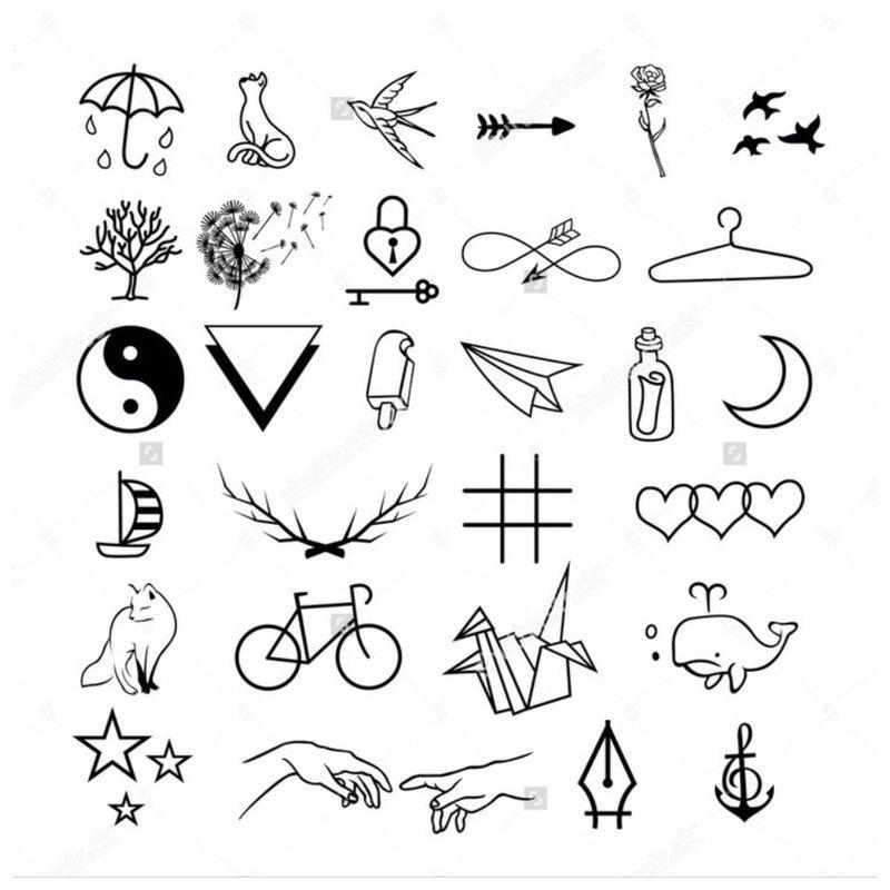 Tatuiruotės simbolių eskizas.
