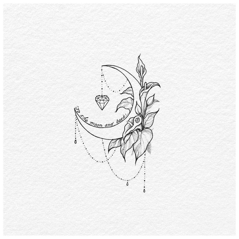Mėnulio tatuiruotės su augalu eskizas