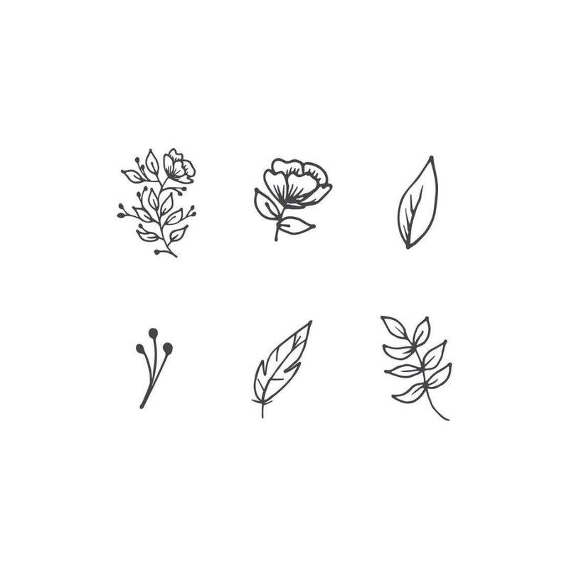 Gėlių eskizai mini tatuiruotėms