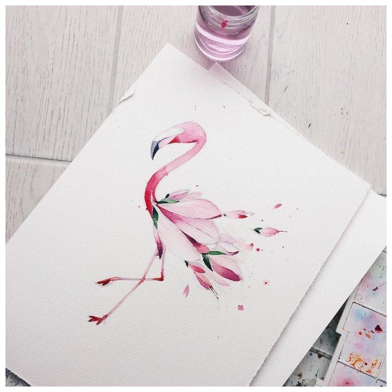 Flamingo tatuiruotės akvarelės eskizas