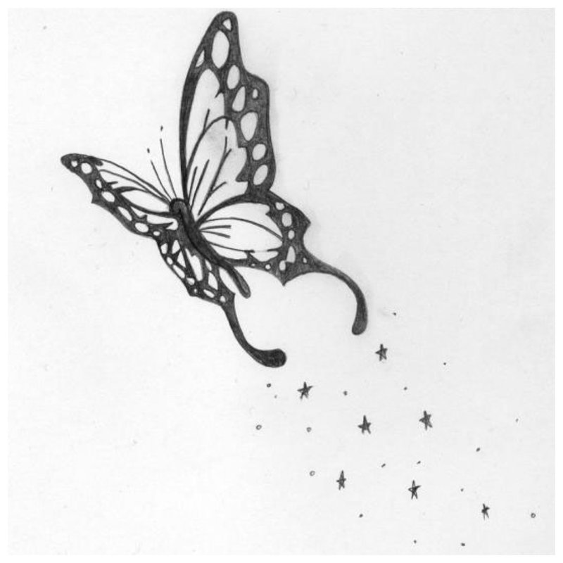 Drugelio tatuiruotės eskizas