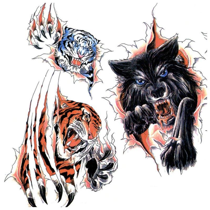 Spalvotų gyvūnų tatuiruočių eskizai