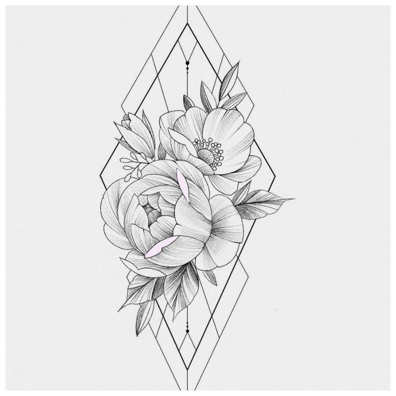 Iš arti eskizas Gėlės su trikampiais