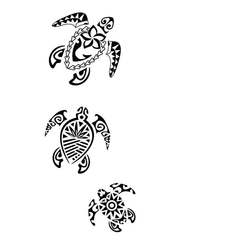 Vėžlio etninės tatuiruotės eskizas