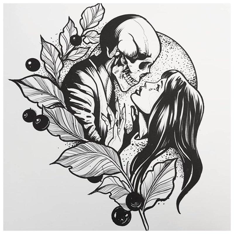 Nespalvotas merginos su kaukole eskizas