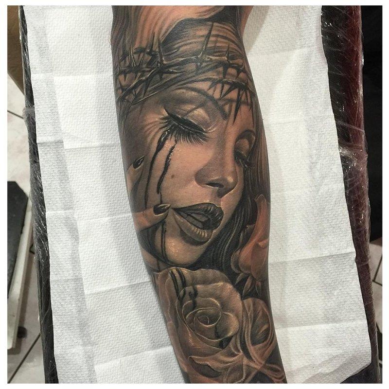 Portrait de tatouage chicano