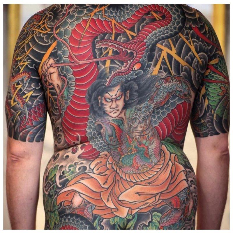 Oosterse rug tattoo-techniek