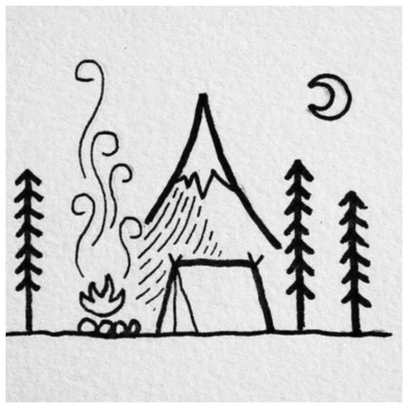 Namas miške - tatuiruotės eskizas