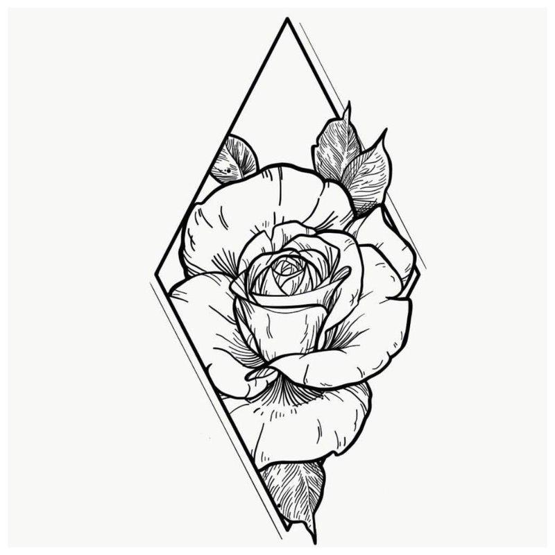 Rožės tatuiruotės eskizas rombe