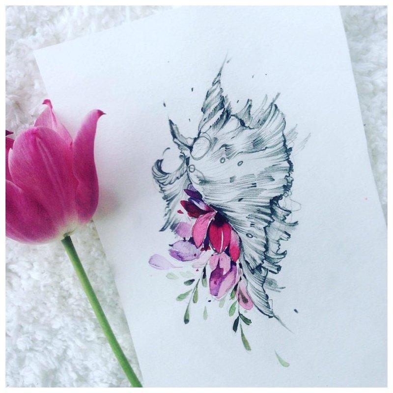 Tatuiruotės gėlių akvarelės eskizas