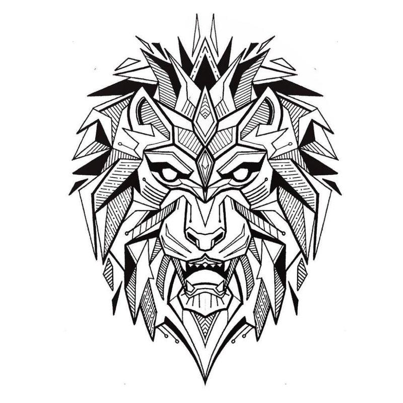 Tatuiruotės su liūtu eskizas.