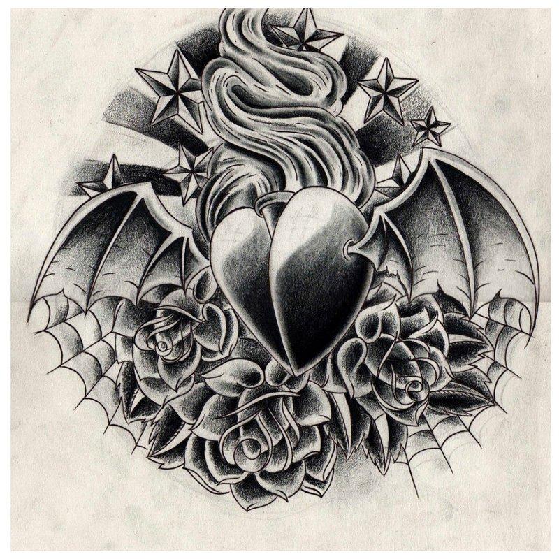 Juodos širdies tatuiruotė