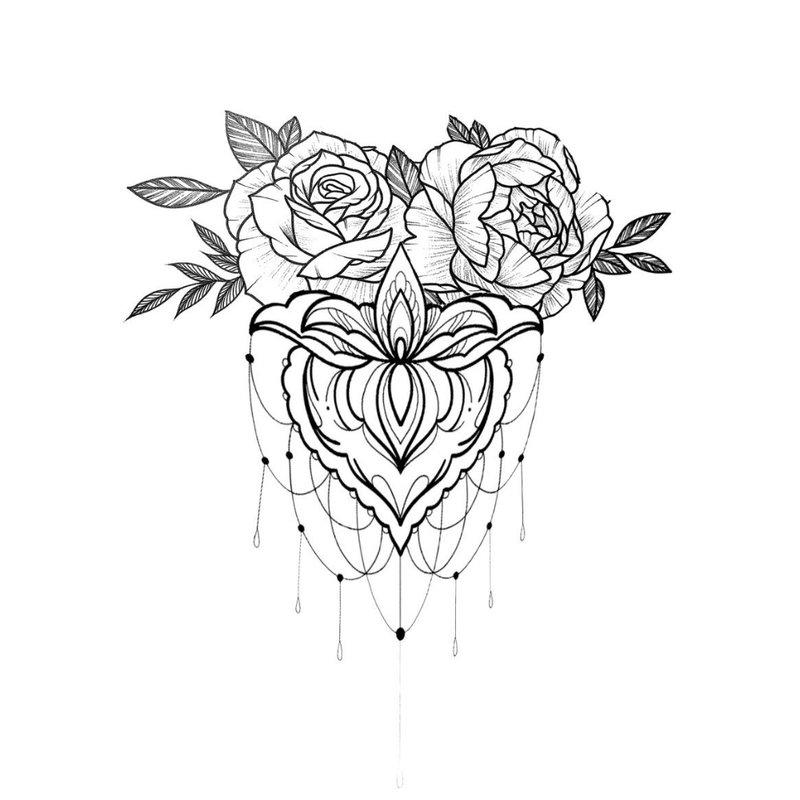 Rožė - tatuiruočių merginos eskizas