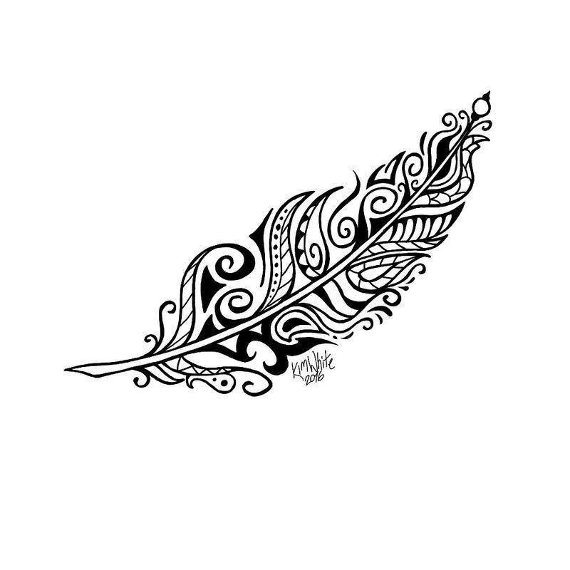 Etno tatuiruotės eskizas Plunksna