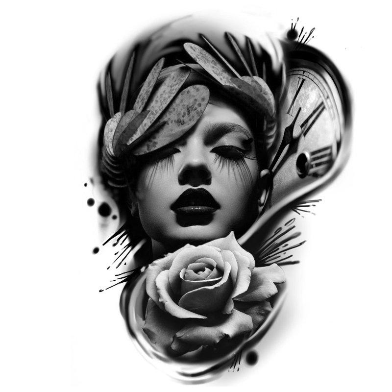 Nespalvotas tatuiruotės su portretu eskizas