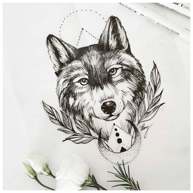 Glimlachende wolf - schets voor tattoo