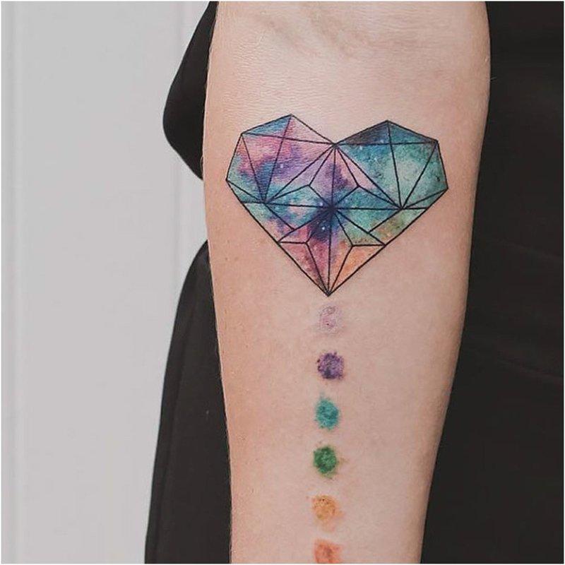 Širdies tatuiruotė akvarelėje