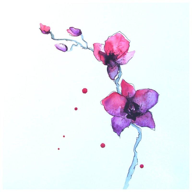 Sakura gėlių eskizas akvarelės tatuiruotėms.