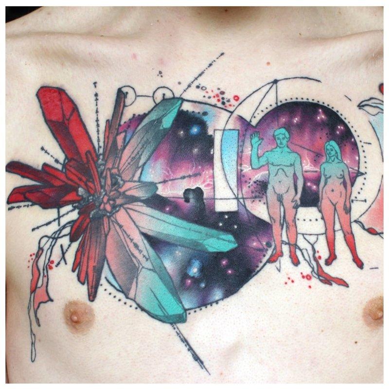 Neįprasta akvarelės tatuiruotė
