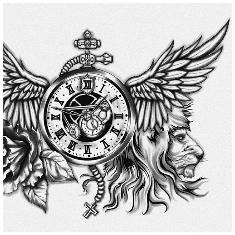 Tatuiruotės su liūtu ir laikrodžiu eskizas.