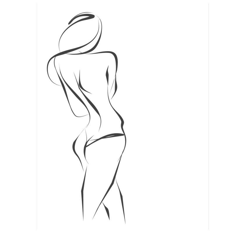 Tatuiruotės moters silueto eskizas